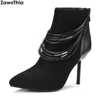 ZawsThia Fashion Pointed Toe Casual Women Shoes Spring And Winter Short Ankle Boots For Girls Plus