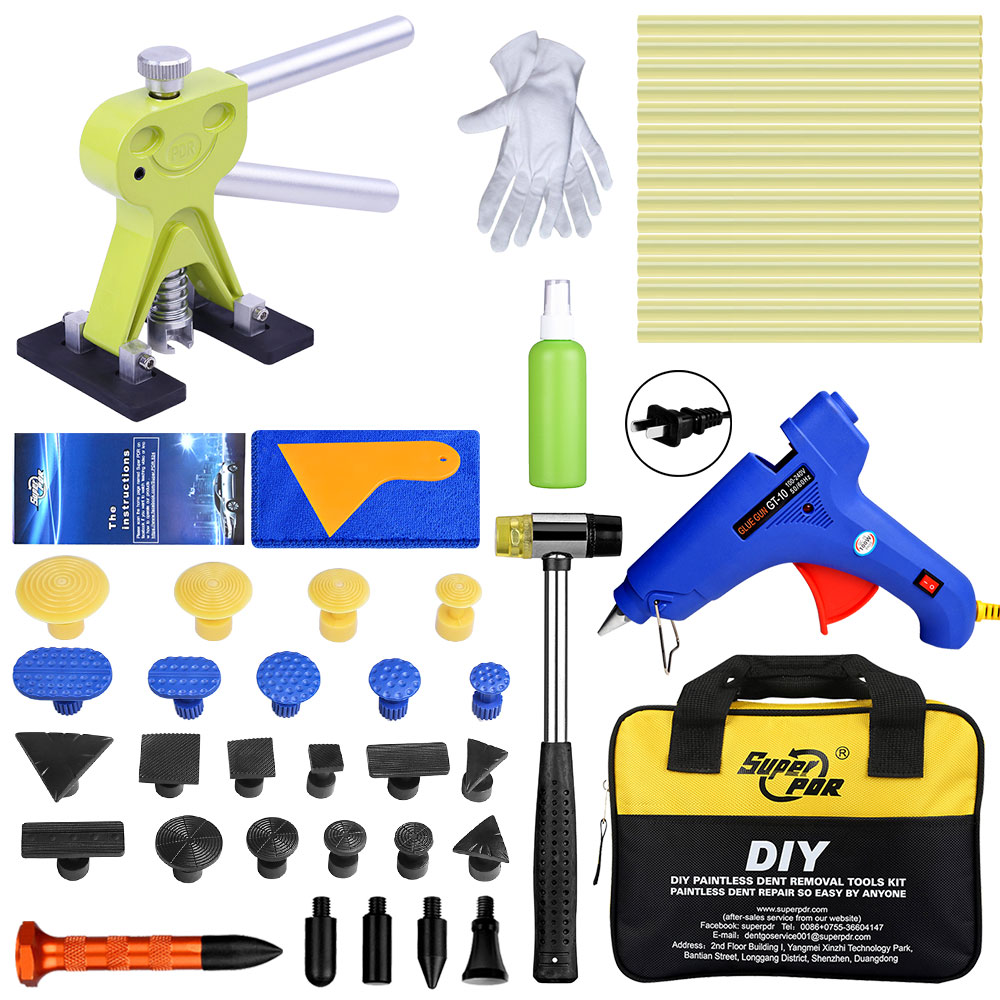 Super PDR Car Dent Puller Suction Cups Glue Tabs Paintless Dent Removal Kit Hot Adhesive Glue Sticks Hot Glue Gun Hand Tools Set super pdr tools dent removal kit for car dent puller suction cup glue sticks for hot melt glue gun line board pump wedge air bag