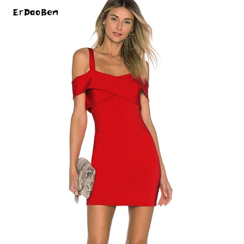 Erdaoben femmes robes de soirée mini gaine moulante hl épaule dénudée robe noir rouge DH7021