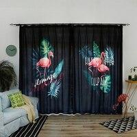 Custom Made 2x Window Drapery Nursery Kids Children Room Curtain Window Dressing Covering Tulle 200x260cm Flamingo Leaves Black