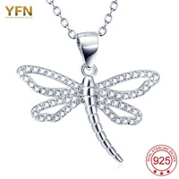 YFN 2016 New Fashion 925 Sterling Silver Necklace Dragonfly Pendant Hot Sale Colliers Femme Bijoux Wholesale