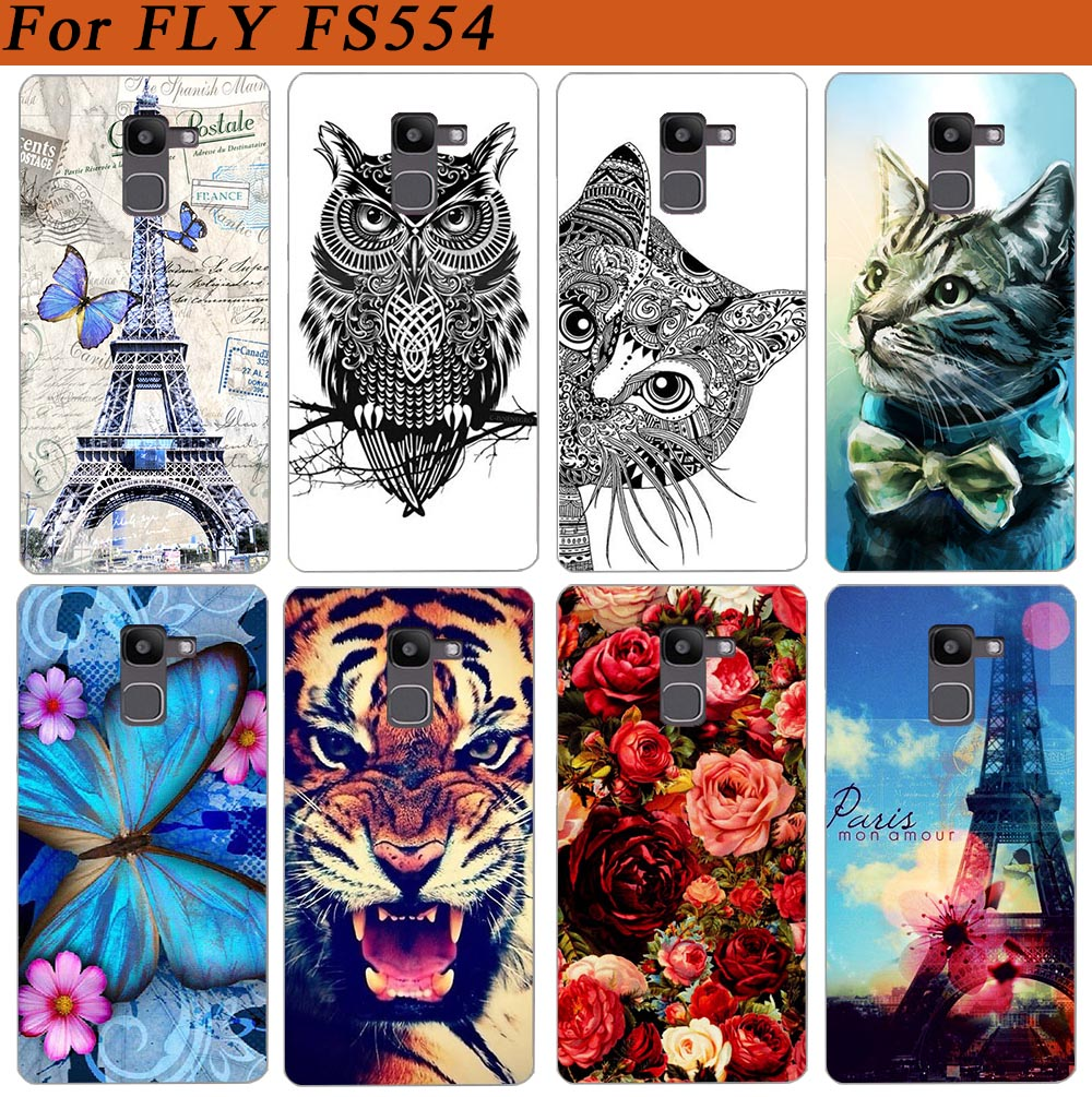 For Fly FS554 Power Plus FHD Case Cover Pattern Painted Colored Tiger Owl Rose Soft Tpu Case For Fly fs554 Fundas Sheer image