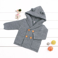 Cartoon Winter Sweater For Baby Girls Cardigan With Ears Newborn Boys Knitted Jackets With Hood Autumn