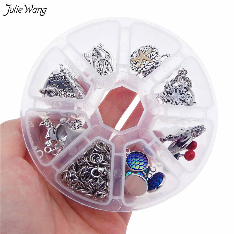 Julie Wang 77pcs/box Bracelet Charms Jewelry Making Kits for Beginners Alloy DIY Findings Women Gifts Handmade Craft
