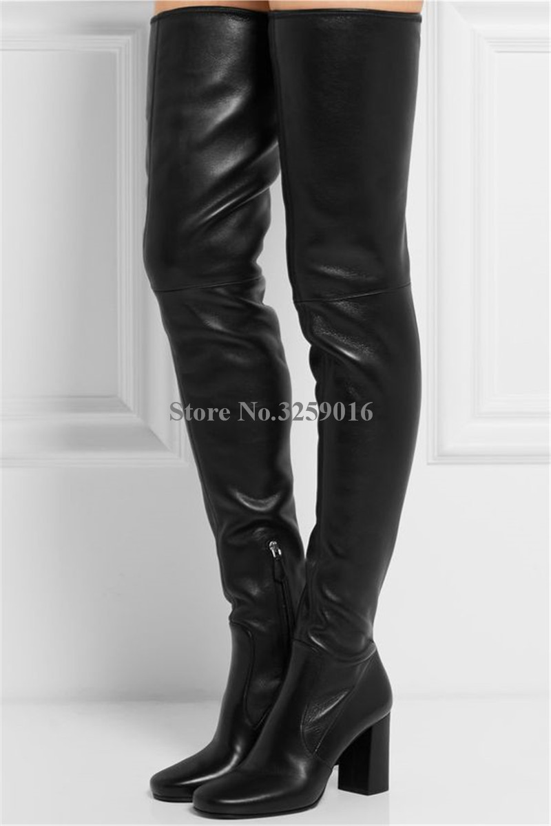 New Fashion Women Black Suede Leather Pointed Toe Chunky Heel Over Knee Boots Slim Style Thigh Long Thick High Heel Boots