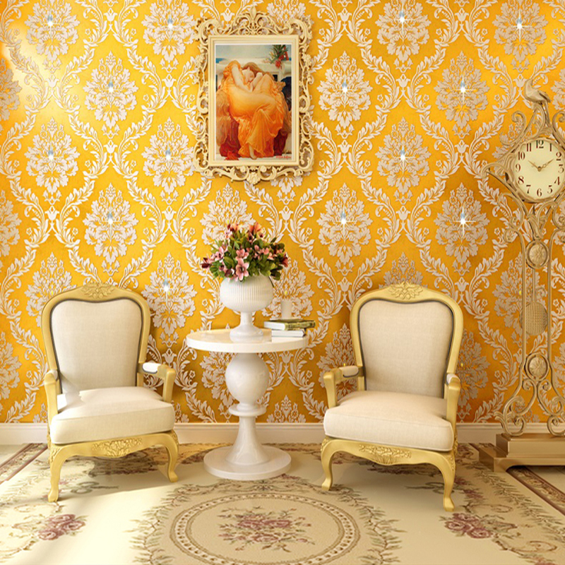 European Style Luxury Golden Damask Diamond Non-woven Wallpaper Roll Living Room Bedroom TV Sofa Background Papel De Parede 3D papel de parede european luxury diamond crystal 3d wallpaper 3d flocking non woven wallpaper wallpaper living room tv