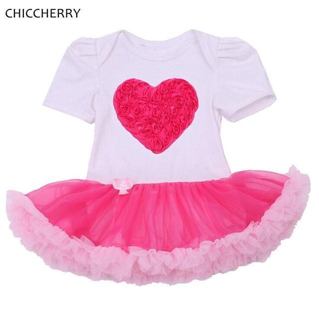 3D Rose LOVE Girls Outfit Tutú Del Cordón Del Bebé del Día de San Valentín Vestido de la muchacha Embroma la Ropa Vestidos Robe Bebe Fille Bebé Boda vestido