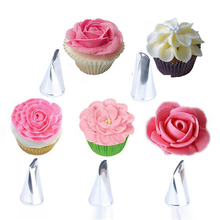 VOGVIGO 5PCS 304 Stainless Steel DIY Craft Flower Rose Icing Piping Nozzle Cream Petal Pastry Cake Decorating Tip Caking Supplie