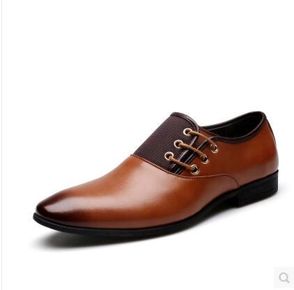 Big Size 38-47 New Fashion Men Wedding Dress Shoes Black Shoes Round Toe Flat Business British Lace-up Mens shoes