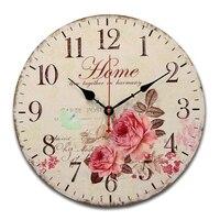 SZS Hot Rose Flower Butterfly Round Creative Wood Wall Clock