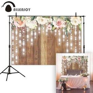 Image 2 - Allenjoy photographie toile de fond rustique mariage paillettes fleur plancher en bois fond anniversaire saint valentin Photozone décor