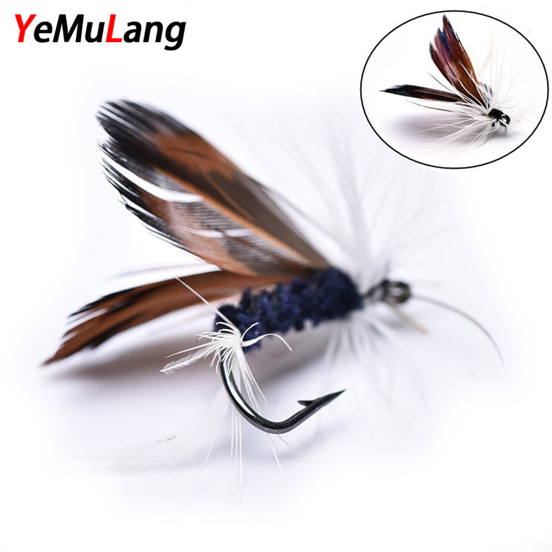 YeMuLang 12pcs/lot Insect Fly Fishing Lures Artificial Fishing Bait Feather Hooks Carp Fishing Bait For Fishing Accessriose