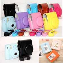 For Fujifilm Instax Mini 8 Camera Mini 8+ Plus 9 PU Leather Bag Case with Shoulder Strap Hard Protective Cover photo Album