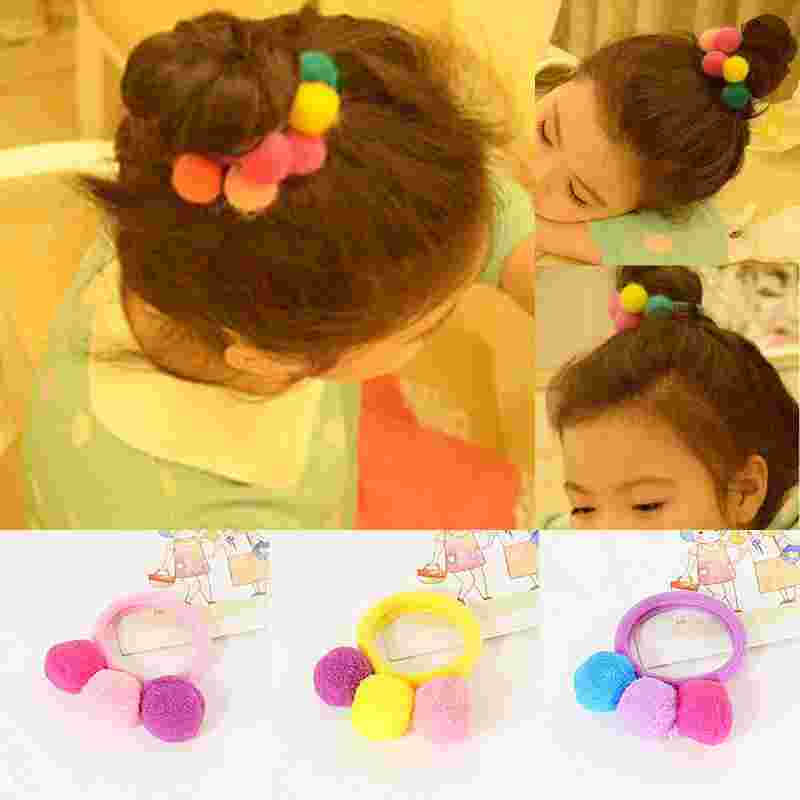 New 1PC Lovely Girls Children Colorful Elastic Ball Elastic Hair Band Hair Rope Kids Hair Accessories