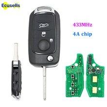 Folding Flip Remote Key 3 Button 433 Mhz Met 4A Chip Voor Fiat Egea Tipo 500X Met Ongesneden SIP22 Blade