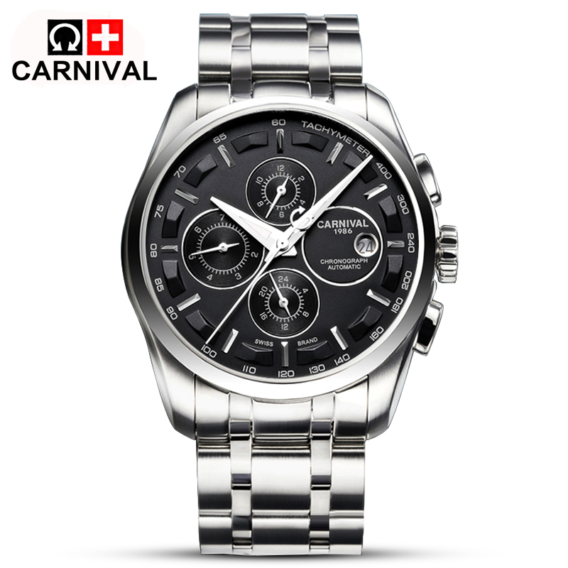 2016 Automatic Watch Men Switzerland Watches Top Luxury Brand Watch Carnival Steel Strap Mechanical Watch Waterproof