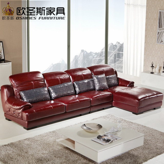 L Shape Sectional Modern Design Baroque Red Purple Leather Sofa Set,sofa  Set Purple Leather