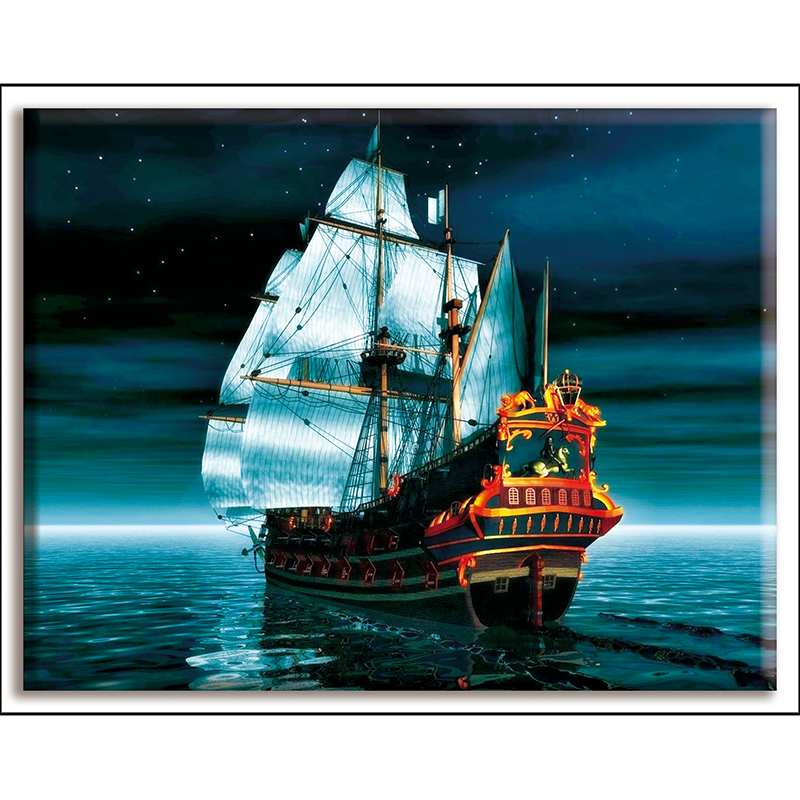 Dmc,Cross-stitch,boat,Smooth Sailing,landscape,Diy,Needlework,kits,White Canvas 40x50cm,cotton Thread,Sets For Full Embroidery