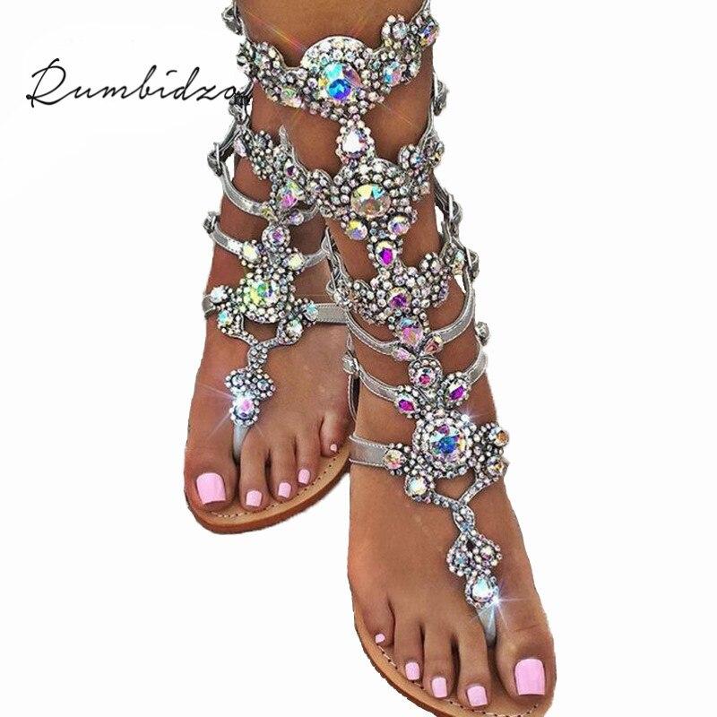 Rumbidzo 2018 Sexy Women Sandals Flip Flop Mid-Calf Flat Heels Sandals Women Crystal Rhinestone Backle Strap Wedding Sandals
