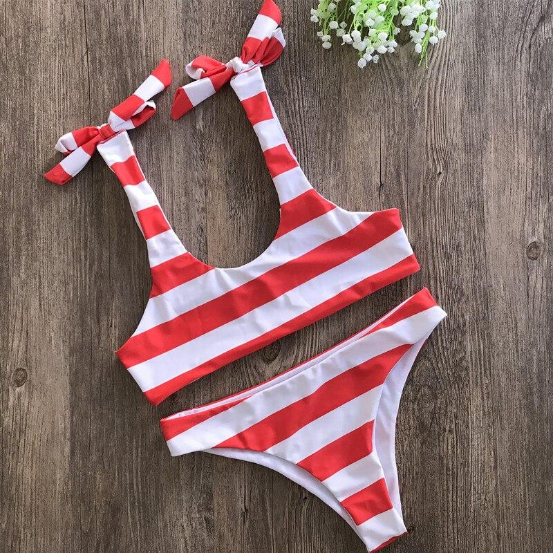 Woment Low Waist Bikini Set Striped Girls' Red Blue Yellow Black And White Lovely Biquinis S-L Large Size Swimwear
