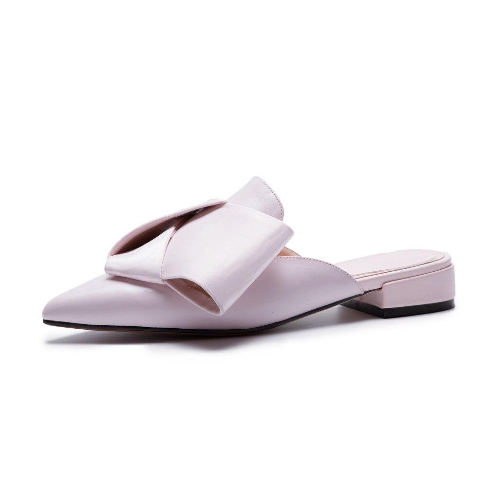 Size Tacco Vera 43 Black Donna Asumer scarpe Big Casual Estate a Scarpe quadrato pelle nuove rosa Pink Nero Fashion punta Mules 34 TwqH7x6