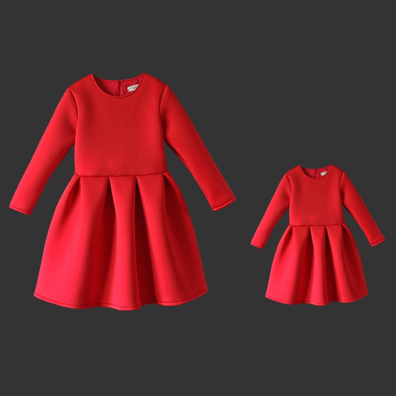 Spring Winter Memory cotton solid kids dress mom girl long pleat party skirt family matching clothes mother and daughter dresses 2017 autumn winter cotton long sleeves girl mom women children sweater family look matching clothes mother and daughter sweaters
