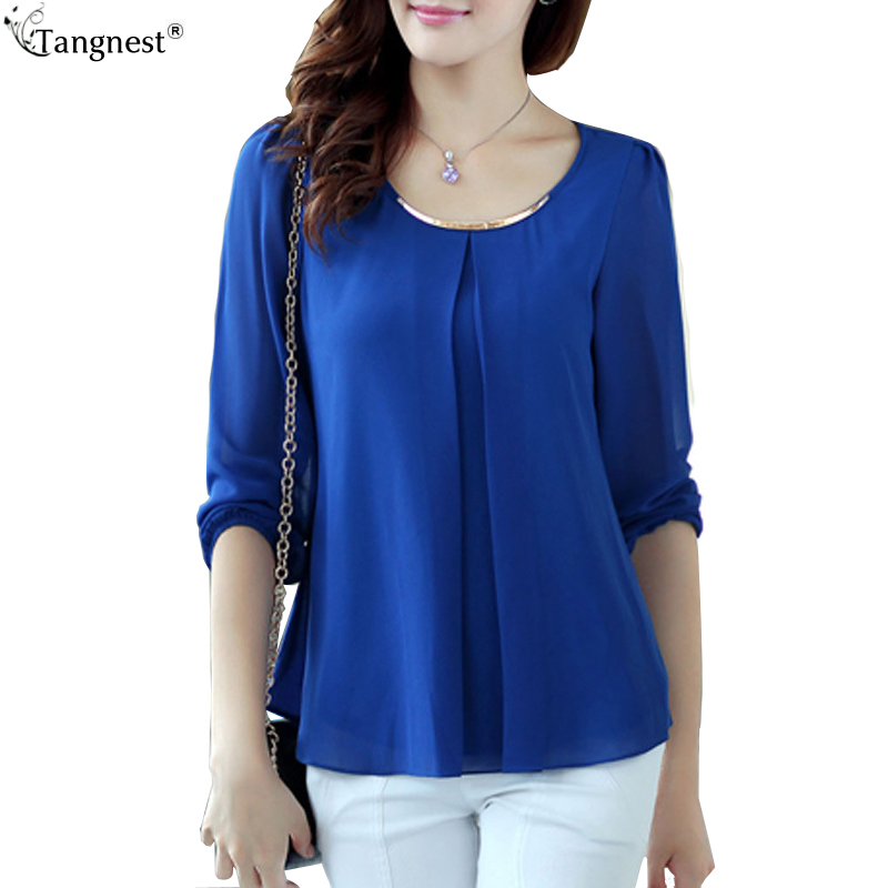 2015 New Plus Size S 4XL Summer Style Women Blouse Candy Color Ruffles Chiffon Long Sleeve