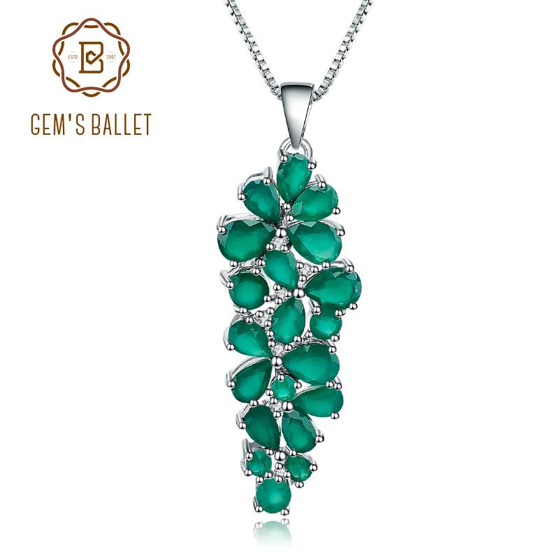 Gem s Ballet 8 22Ct Natural Green Agate Onyx Gemstone Pendant 925 Sterling Silver Mother s