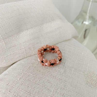 แฟชั่นสไตล์เกาหลีอินเทรนด์โบฮีเมียหลายสีดอกไม้ขนาดเล็กลูกปัดแหวนผู้หญิงเครื่องประดับ Handmade สานแหวนสไตล์