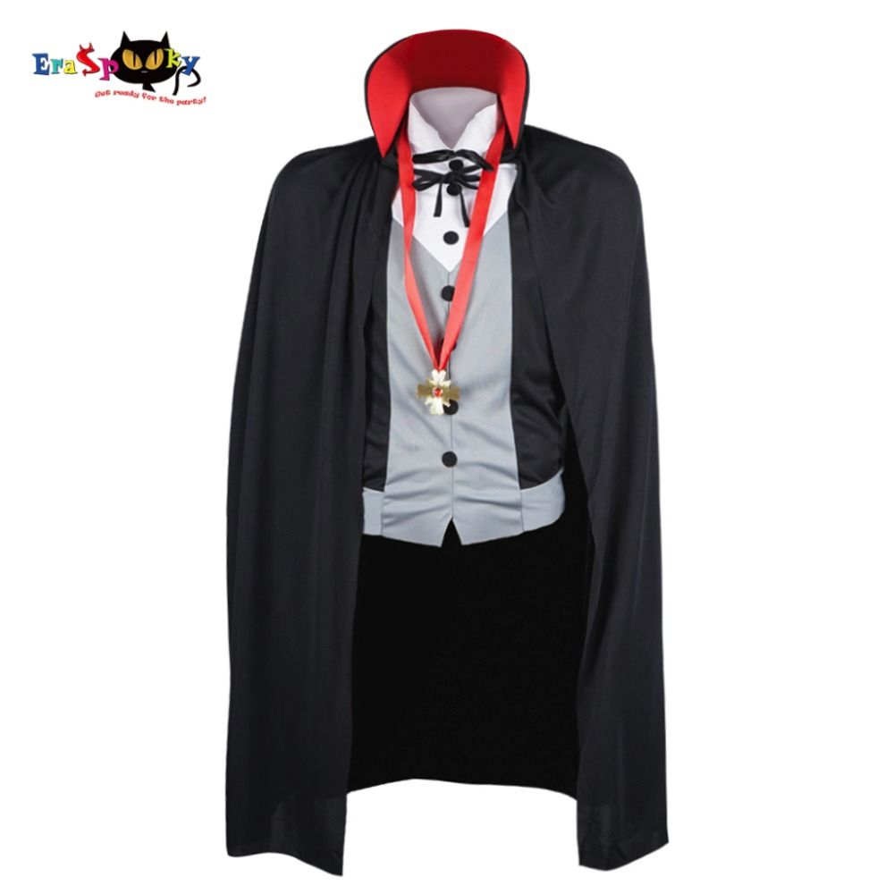 Homens Vampire Costume Trajes de Halloween Adulto Masculino Fantasia Cosplay Fancy Dress Gótico Capa Cape Gola para o Partido Do Carnaval