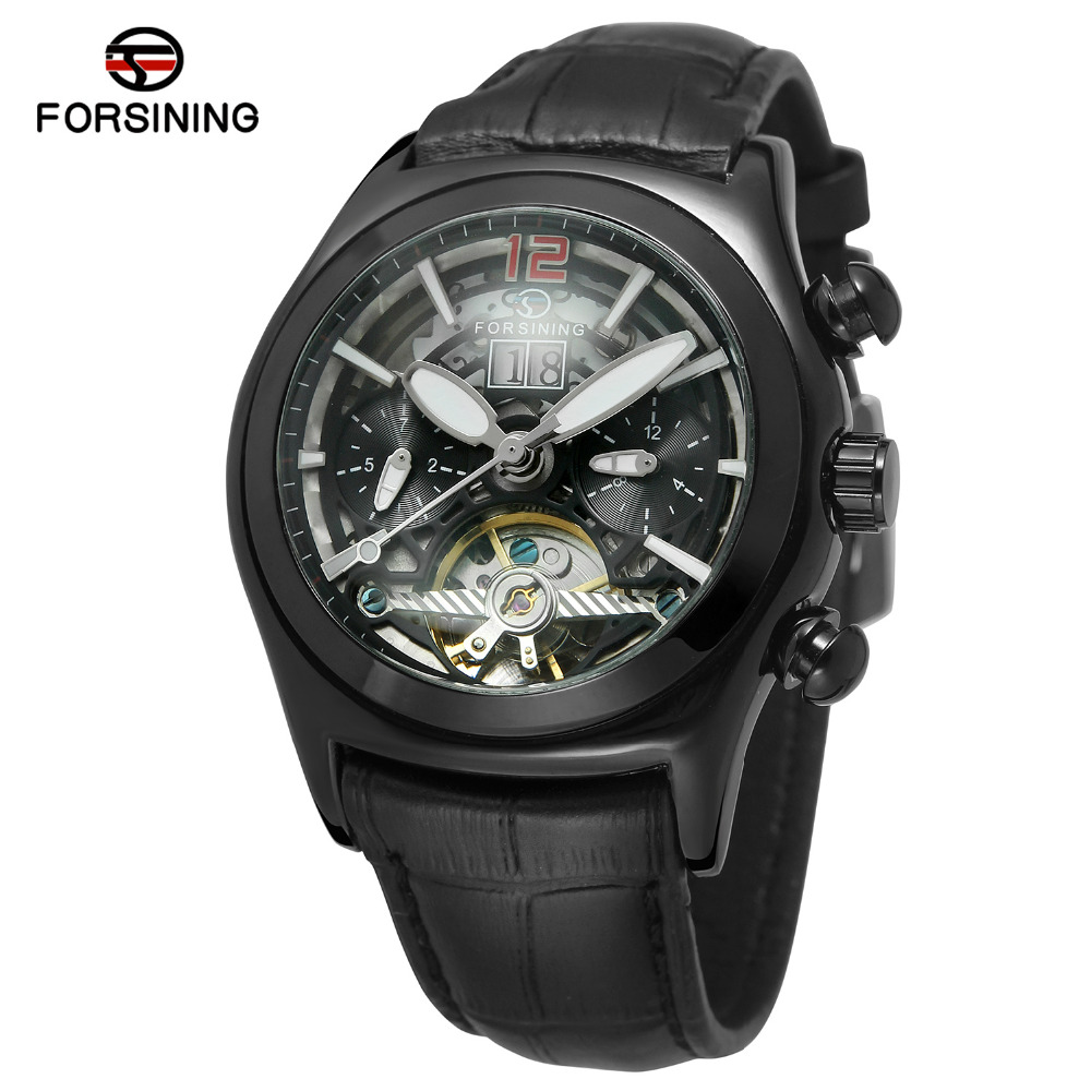 FORSINING Brand Mens Genuine Leather Band Tourbillon Automatic Mechanical Watch Luxury Roman Numbers Wristwatch Relogio Releges forsining men luxury brand moon phase genuine leather strap watch automatic mechanical wristwatch gift box relogio releges 2016