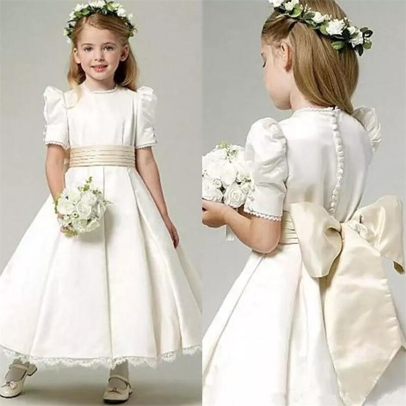 Ivory&White   Flower     Girl     Dress   with Big Bow Button Back For Cute Holy   Girls   A-Line Satin Pageant Gowns Primera Communion Gowns