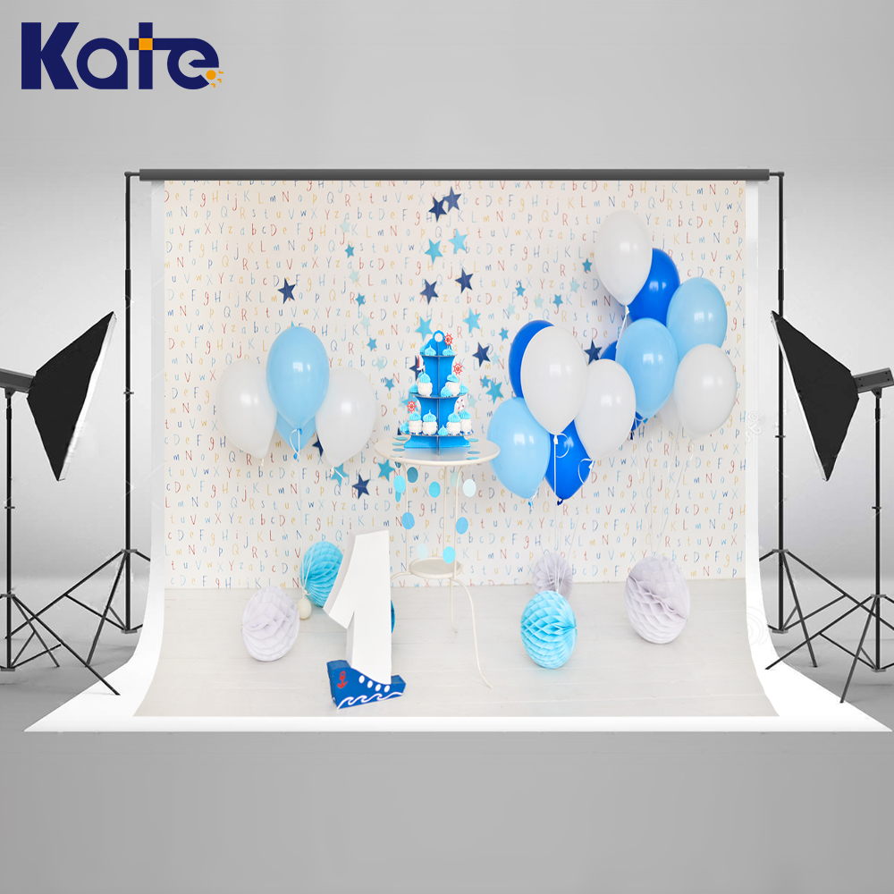 Kate Photo Background Blue Cake Birthday Background Festa Infantil Decoracao Wood Letters for Wall Newborn Backdrops for Studio kate photo background newborn birthday photography background lollipop and cake table backdrop for children photo shoot