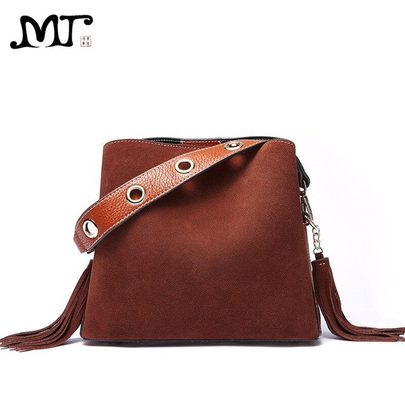MJ Bag Ladies Genuine Leather Tassel Handbag Real Leather Tote Bag Retro Suede Shoulder Handbag Crossbody Messenger Bags Solid