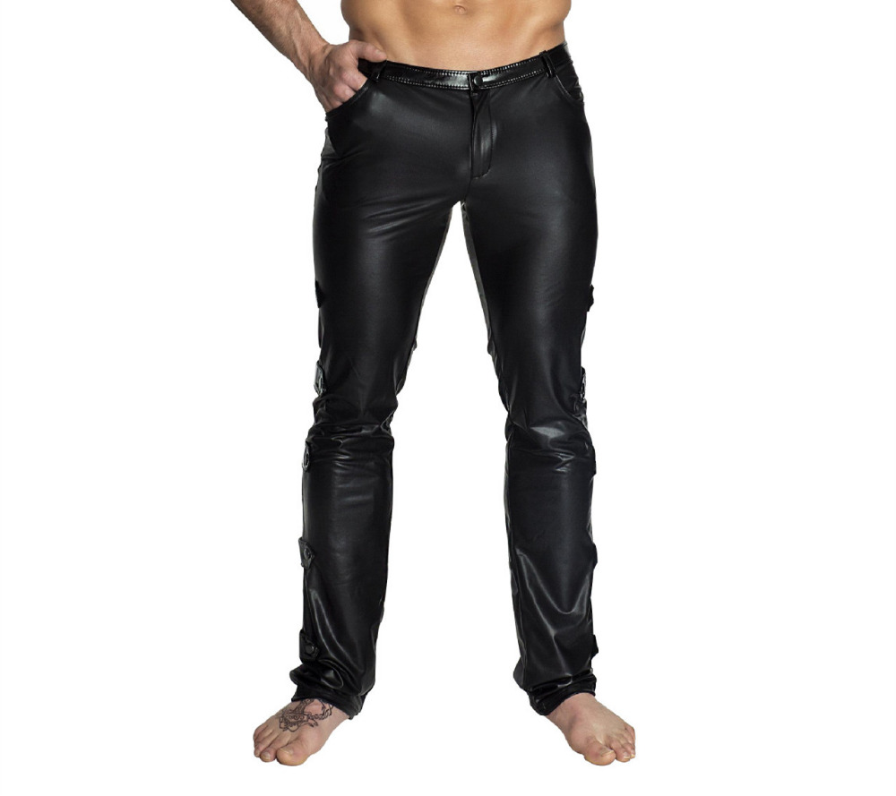 M-2XL Black Shiny PU Leather Pants Men Elastic Slim Fit Trousers Male Casual Motorcycle Faux Leather Jogger Pants