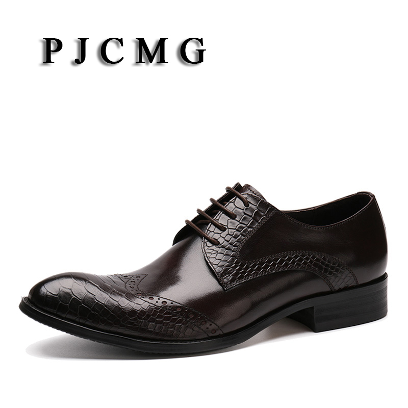 PJCMG Fashion Brand Men's Genuine Leather Pointed Toe Lace-Up Business Leisure Platform Oxfords Office & Career Wedding Shoes pjcmg fashion branded design men s casual carved genuine leather oxfords lace up brogue pointed toe mixed color oxford shoe