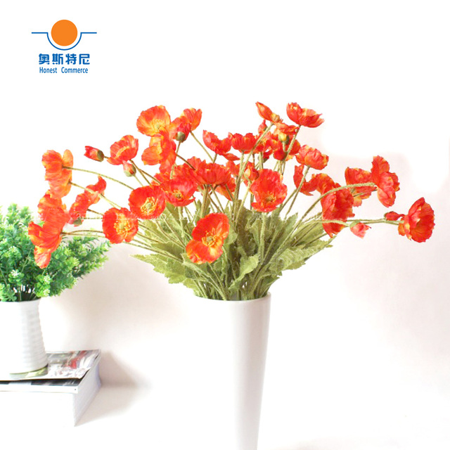 5pcs artificial flower bouquets orange red color artificial corn 5pcs artificial flower bouquets orange red color artificial corn poppy flowers bouquetspapaver rhoeascoquelicot bunches mightylinksfo
