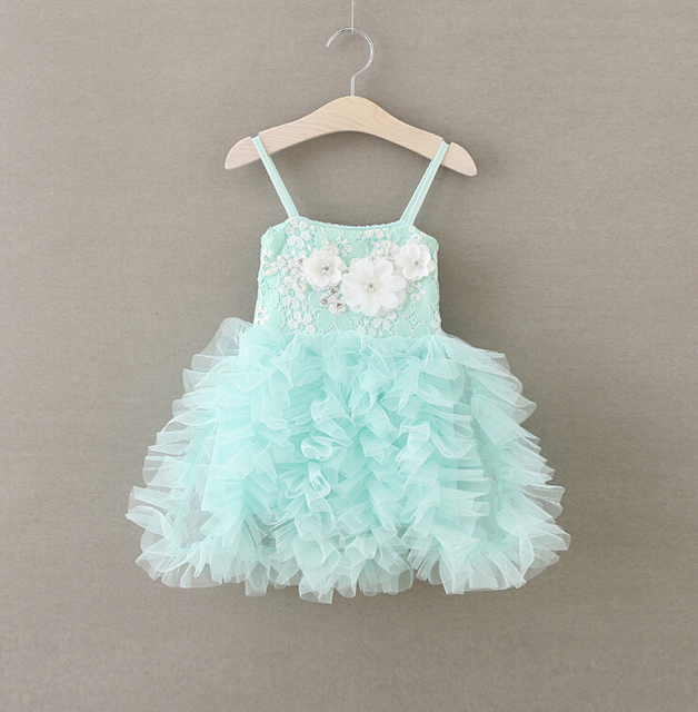 bd890d3a9 toddler girls mint ruffle tulle lace dress with white flowers ,baby girl  pink grey tutu dress ZJH0