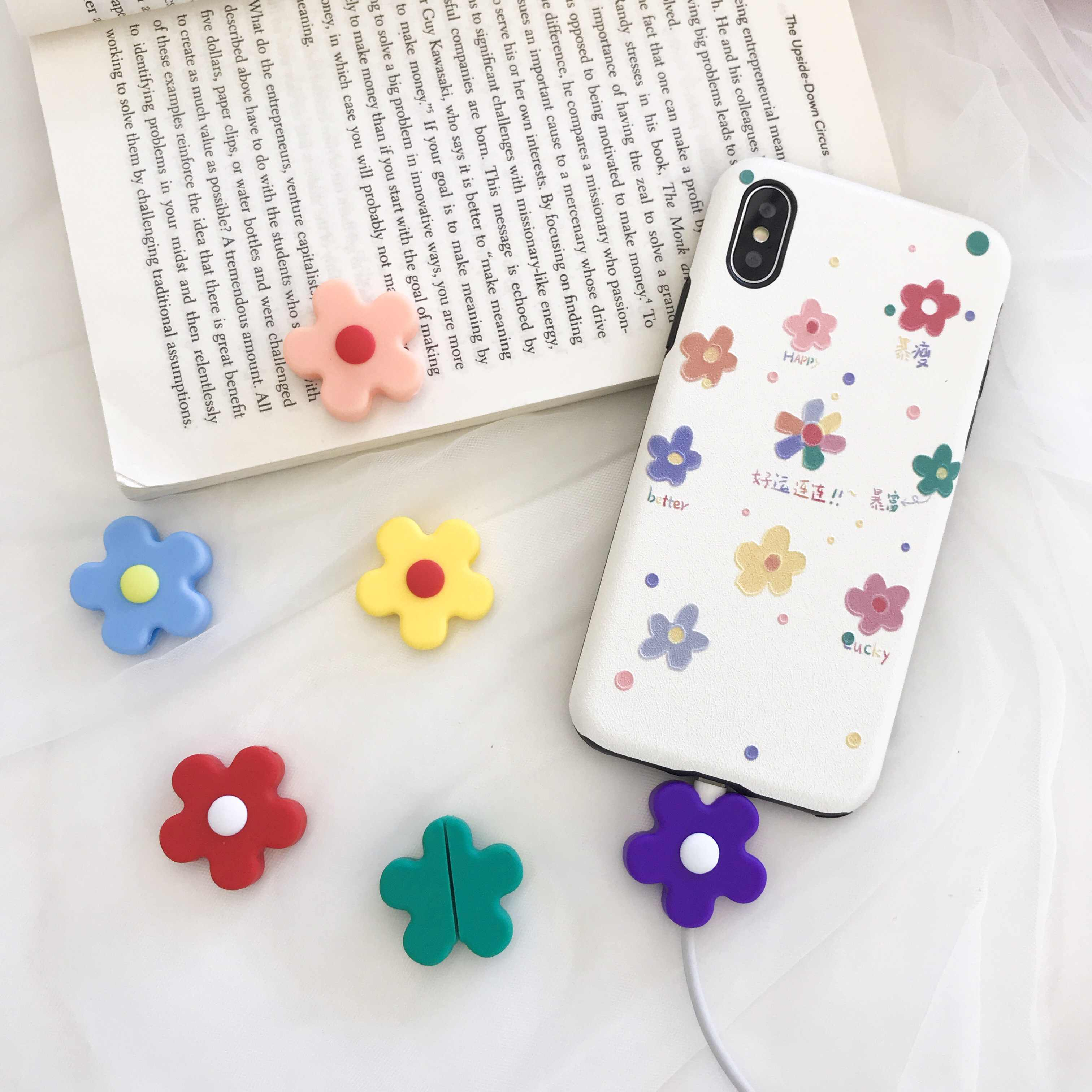 Cartoon Flower Cable Protector Data Line Cord Protector Protective Case Box Cable Winder Cover For iPhone USB Charging Cable