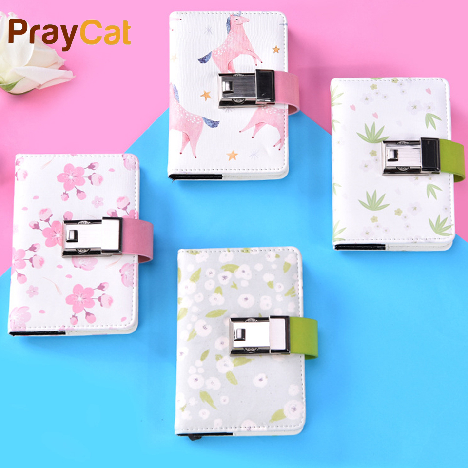 A6 A5 Diary Password Lock Notebook Kawaii Leather Simple Cute For Journal Gift Planner Stationery Office Diary Coded