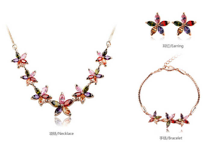 קריסטל אוסטרי אמיתי צבעים פרחי צמידים לנשים Teen מותג האופנה רוז צבע זהב תכשיטי צמיד Femme חם