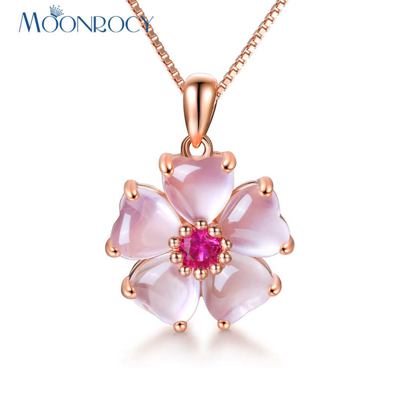 MOONROCY Rose Gold Color Pink Opal Necklace CZ Pendant Choker Flower Ross Quartz for Women Girls Gift Drop Shipping Necklaces