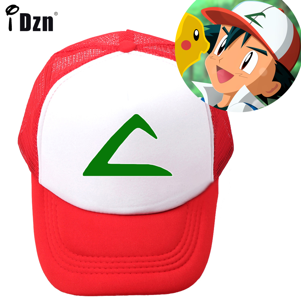 Summer Children Boy Girl Baseball Caps Cosplay Cartoon Pokemon Pikachu&Ash Ketchum Red Hat logo Mesh Caps Adjustable Sport Hat top anime pokemon pocket monsters pikachu logo cotton hat winter warmer beanie cap costume ball cosplay gift new arrival