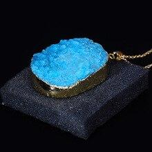 LISTE&LUKE Natural Stone Druzy Quartz Pendant Necklace Irregular Crystal Stone Pendants Gold Color Necklaces Women Sweater Chain