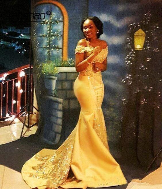 Yellow Muslim Evening Dresses Satin Mermaid Appliques Beads Vestidos De Festa Dubai Saudi Arabic Evening Gown Prom Dress