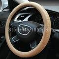 Beige Man Business Tread Pattern Automotive Steering Wheel Covers Genuine Leather 15 inch