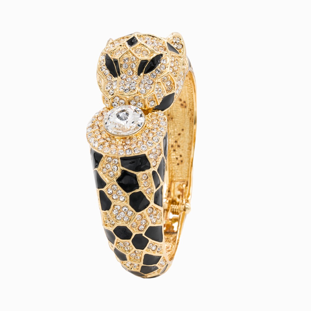 Gold Austrian Crystal Enamel Leopard Bangles Bracelet Cuff for Women SKCA1428A On Sale цены