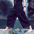 HOT! 2016 NOVOS HOMENS calças de linho solto fluido calças de comprimento no tornozelo verão calças perna larga plus size calças casuais harem pants