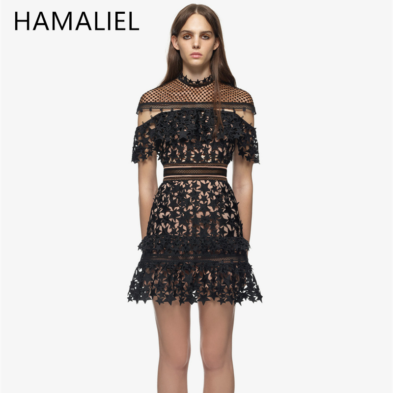 Self Portrait Runway Lace Dress 2018 Summer Women Black Hollow Out Star Crochet Cloak Sleeve A-Line Dresses Party Dress Vestidos floral chiffon dress long sleeve