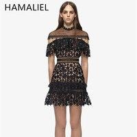 Self Portrait Runway Lace Dress 2017 Summer Women Black Hollow Out Star Crochet Cloak Sleeve A